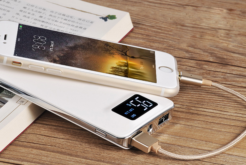 HOCO UPB05 10000mAh Dual USB Power Bank Portable LED Electric Torch with LCD Screen