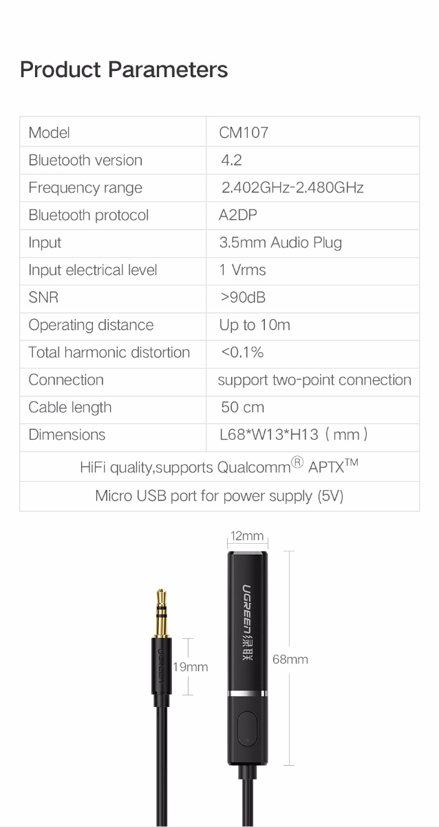 Ugreen CM107 Bluetooth 4.2 Transmitter 3.5 MM Audio Broadcast Support APTX Humidifier Mini Portable Mute USB Aroma Air Purifier
