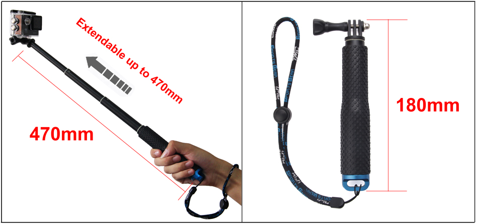 SOOCOO 19'' Waterproof Selfie Stick Grip Adjustable Telescopic Monopod Pole