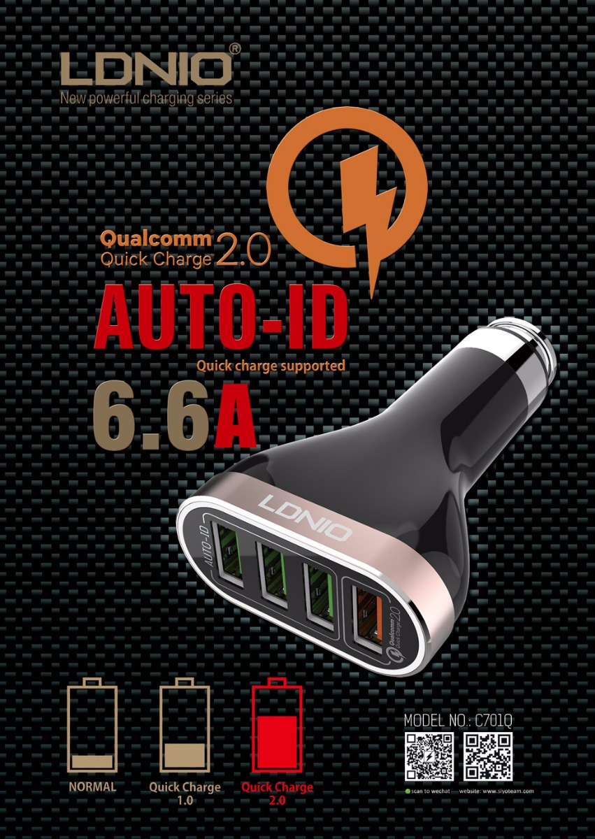 LDNIO C701Q Car Charger Quick Charge 2.0 4 USB Port Quick Charge Metal Adapter