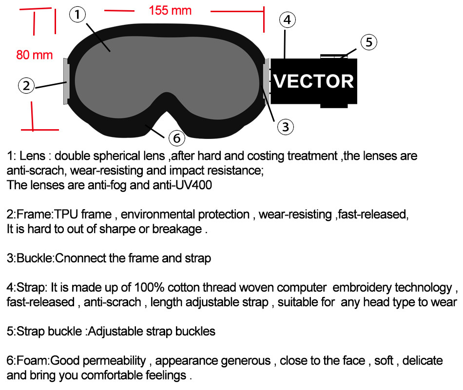 VECTOR Kids Ski Goggles UV400 Anti-fog Winter Girls Boys Eyewear