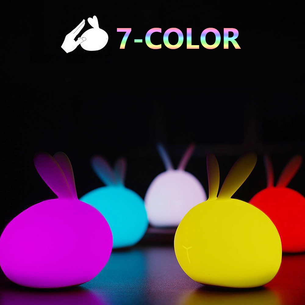 DONWEI Battery Colorful Silicone Night Light Cute Rabbit Night Table Decoration