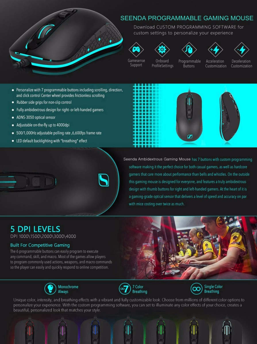 Seenda S600 Optical Gaming Mouse 7 Color Light 4000 DPI USB Wired Mouse