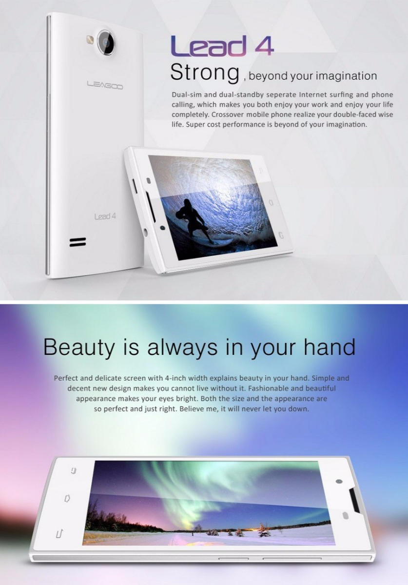 LEAGOO Lead 4 3G Smartphone Android 4.2 with 4.0 Inch Screen Dual Cameras