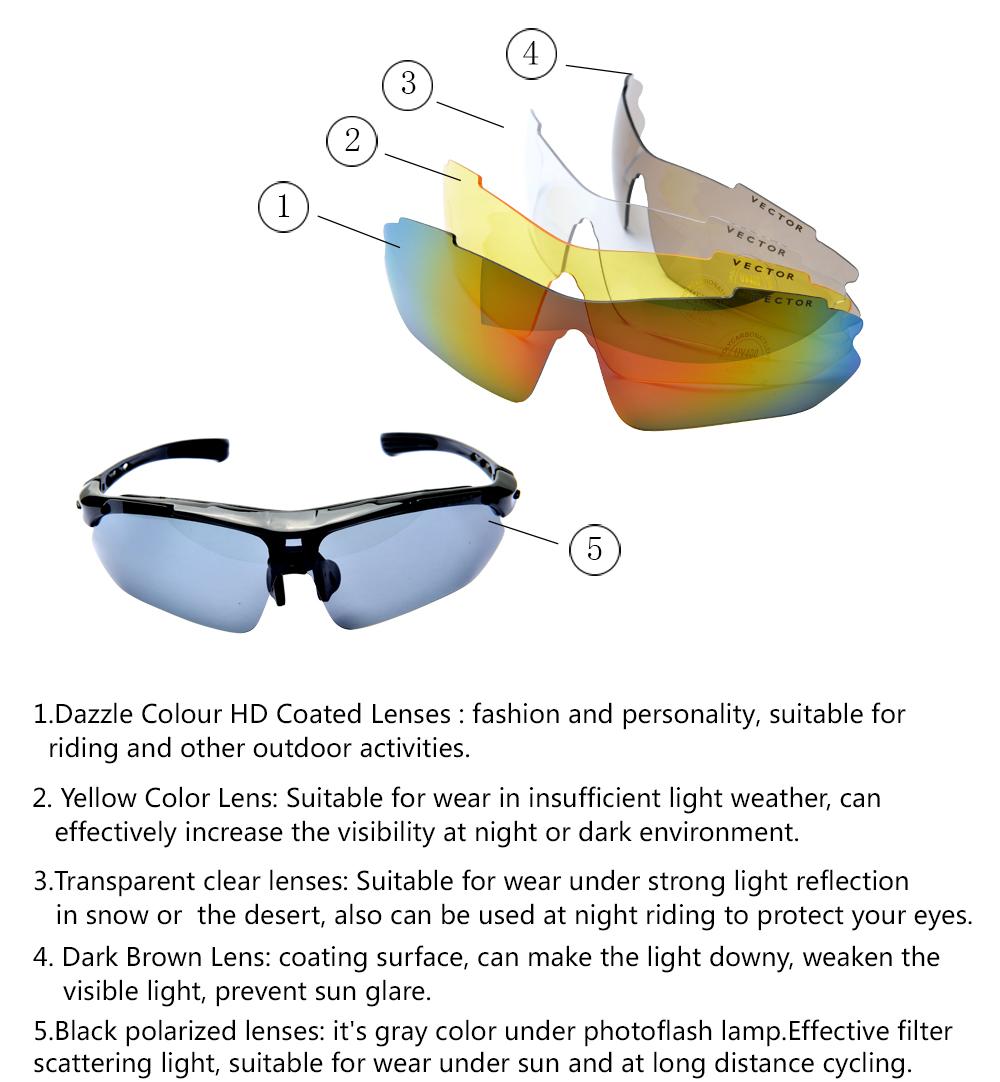 VECTOR ACC30018 Polarized Sports Sunglasses Men Women Road Cycling Glasses 5 Lens