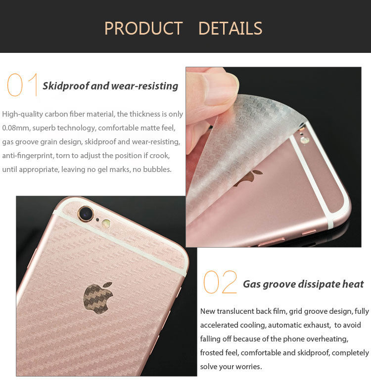 3D Transparent Grid Carbon Fiber Back Screen Protective Film for iPhone