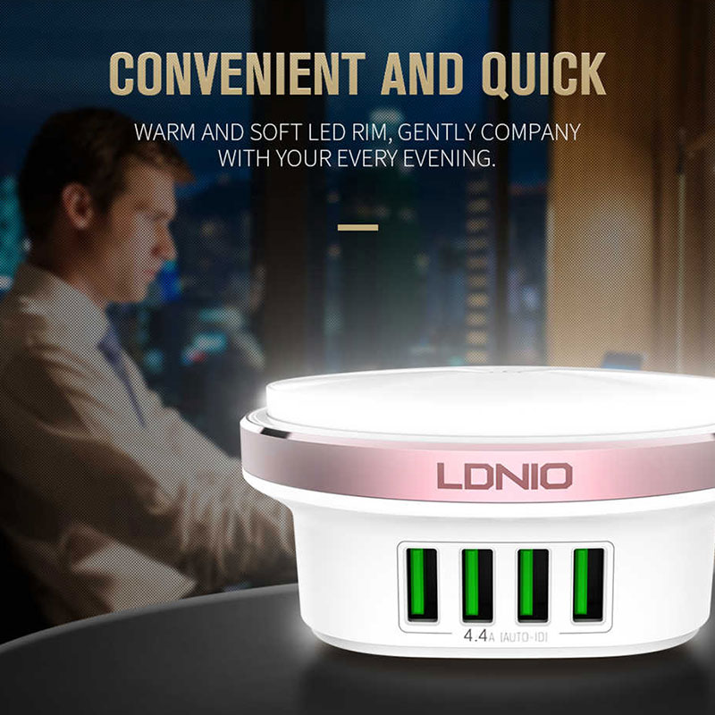 LDNIO A4406 4 Port USB Wall Charger Mobile Phone Device Data Charging