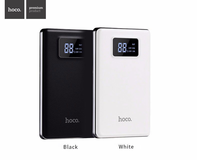 HOCO B23 10000mAh Portable Power Bank with Dual USB and Digital Display