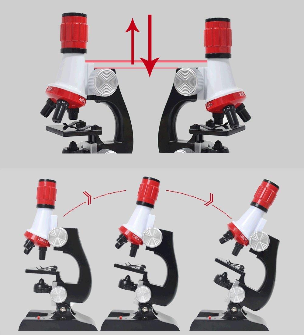 Science Biological Adjustable Beginner Microscope LED Kit Toy for Kids