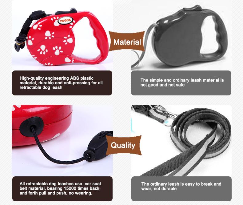 PUGGA Automatic Retarctable Dog Leash ABS Plastic and Nylon Material