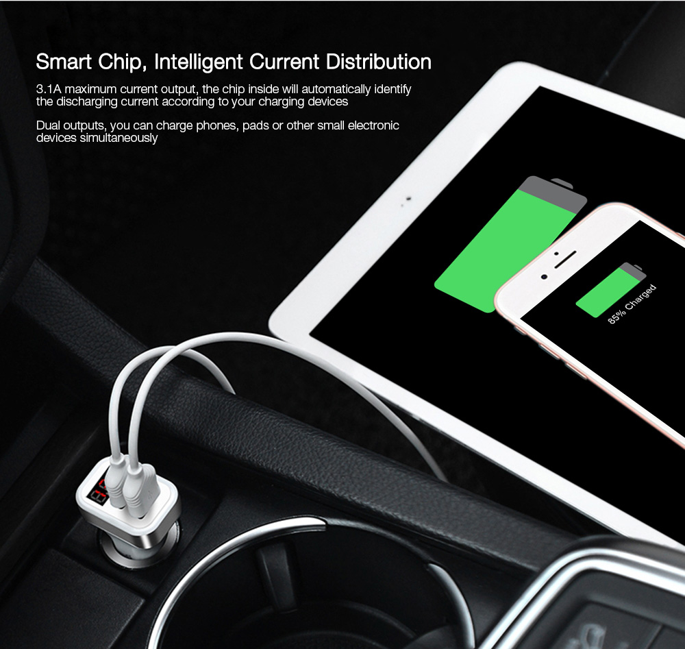 HOCO Z3 Dual USB Port Car Charger Digital Display Charging Adapter
