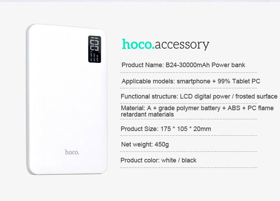 HOCO B24 30000mAh Portable Power Bank with LCD Display