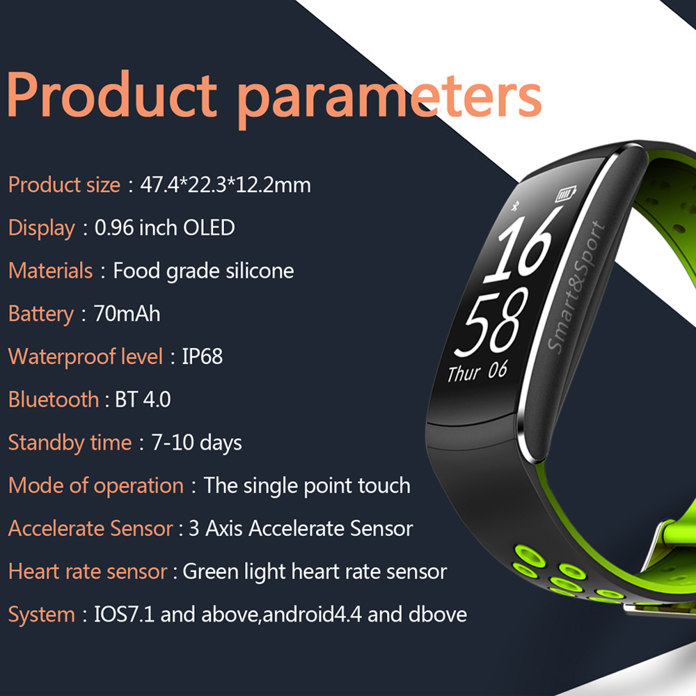 Q8 Smart Wristband Waterproof Blood Pressure Heart Rate Monitor Fitness Tracker