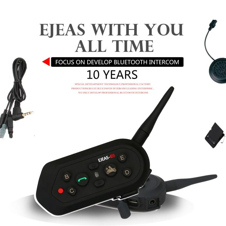 EJEAS E6 Motorcycle Helmet Interphone Bluetooth Waterproof Intercom Headset