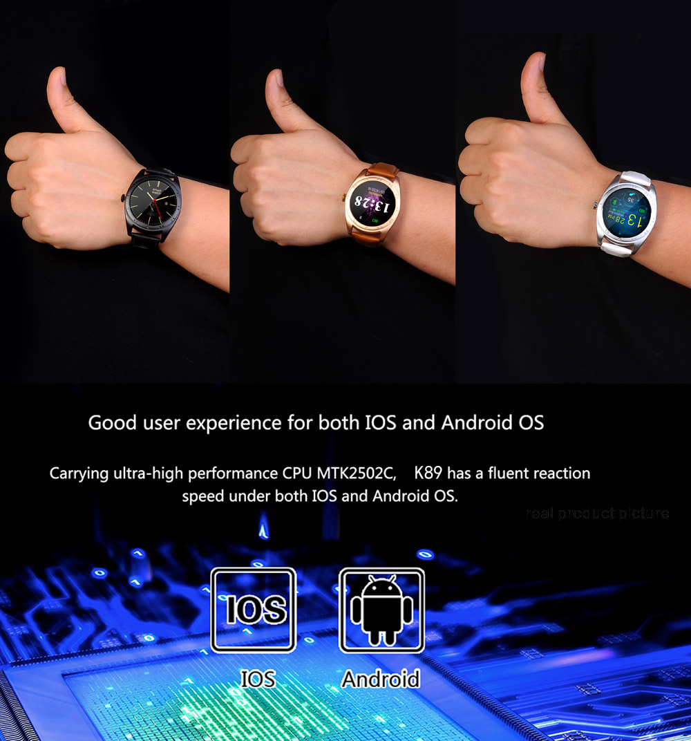 K89 Bluetooth 4.0 Smart Watch Heart Rate Monitor with Changeable Strap