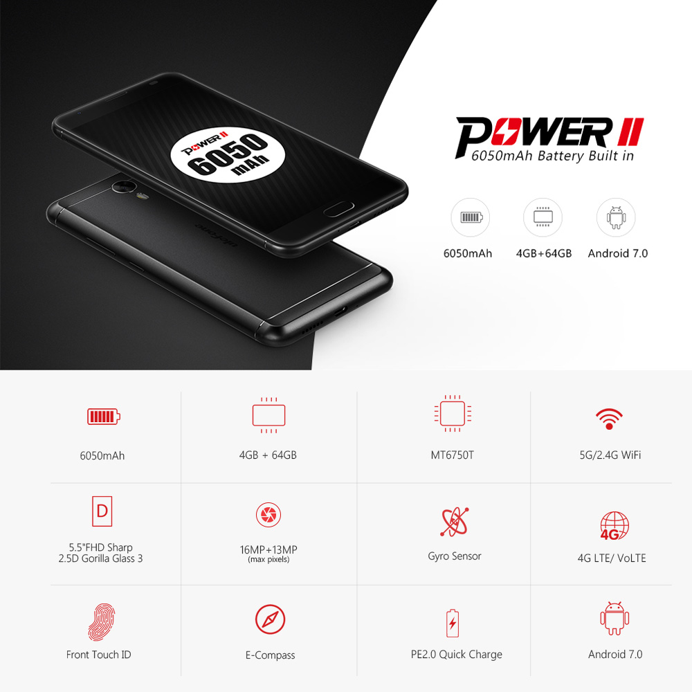 Ulefone Power 2 5.5 Inch Android 4G Smartphone Support Dual SIM Card