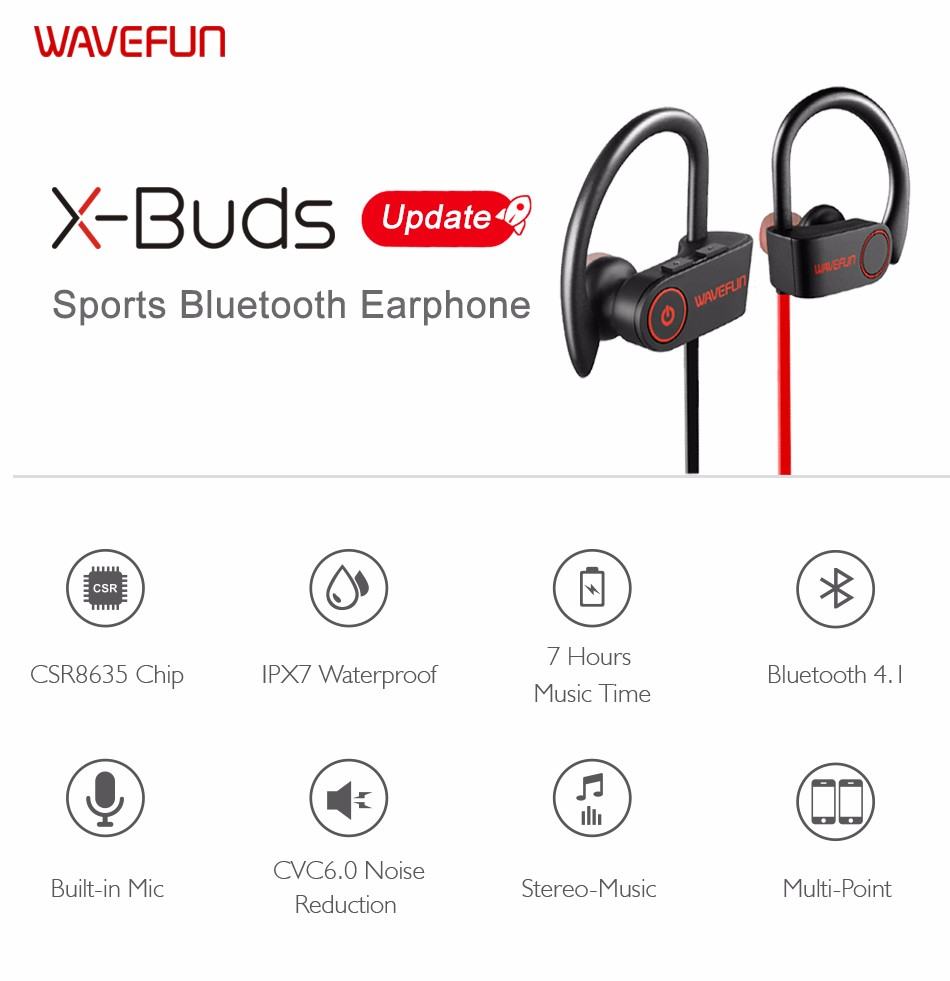 Wavefun X-Buds Wireless Bluetooth Earbud IPX7 Waterproof Sports Headset with Mic