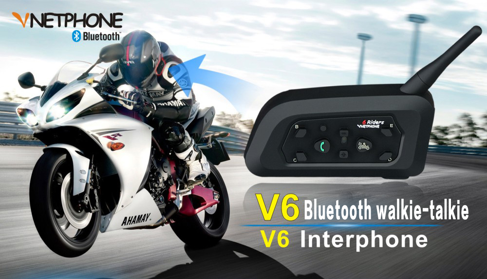 Vnetphone V6 Motorcycle Helmet Waterproof Bluetooth Intercom Headset