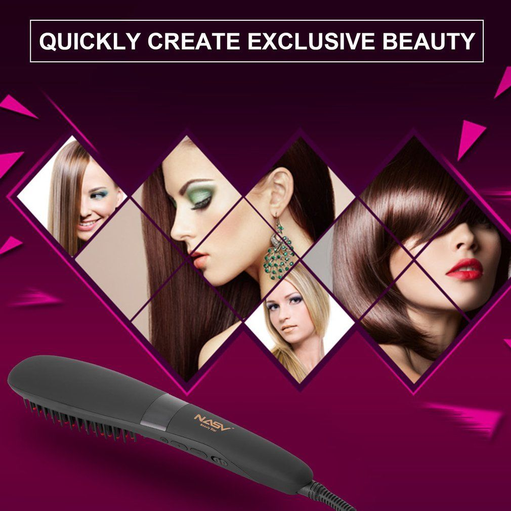 NASV NASV-300 Ceramic Hair Straightener Brush Comb with LCD Digital Display