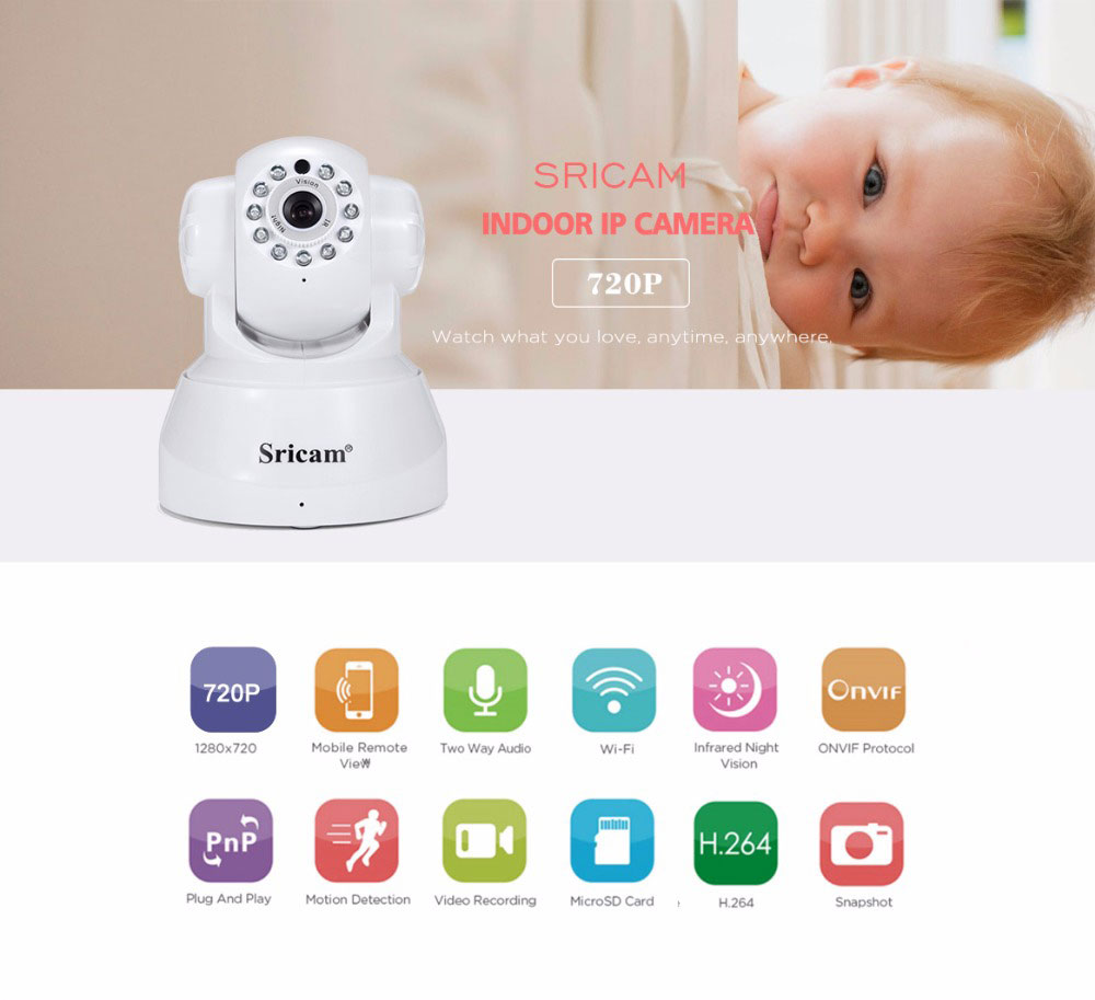 Sricam SP012 720P WiFi IP Camera Wireless Night Vision ONVIF Security Surveillance