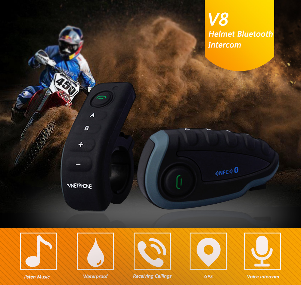 Vnetphone V8 NFC Motorcycle Helmet Headset Bluetooth Waterproof BT Interphone