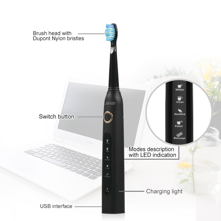 SEAGO SG - 507 Electric Sonic Toothbrush USB Rechargeable 5 Optional Modes