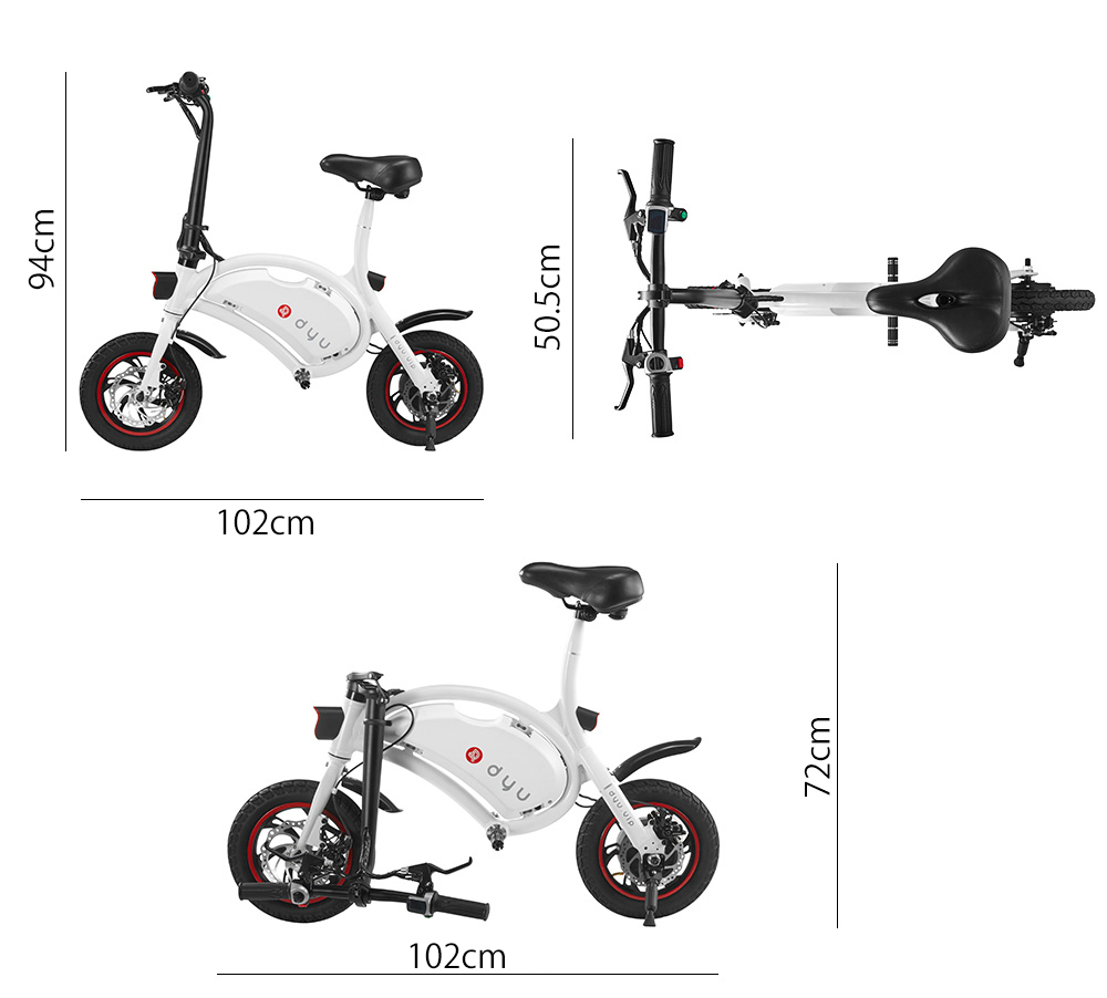F - wheel DYU D2 Folding Electric Bike with 12 Inch Wheels