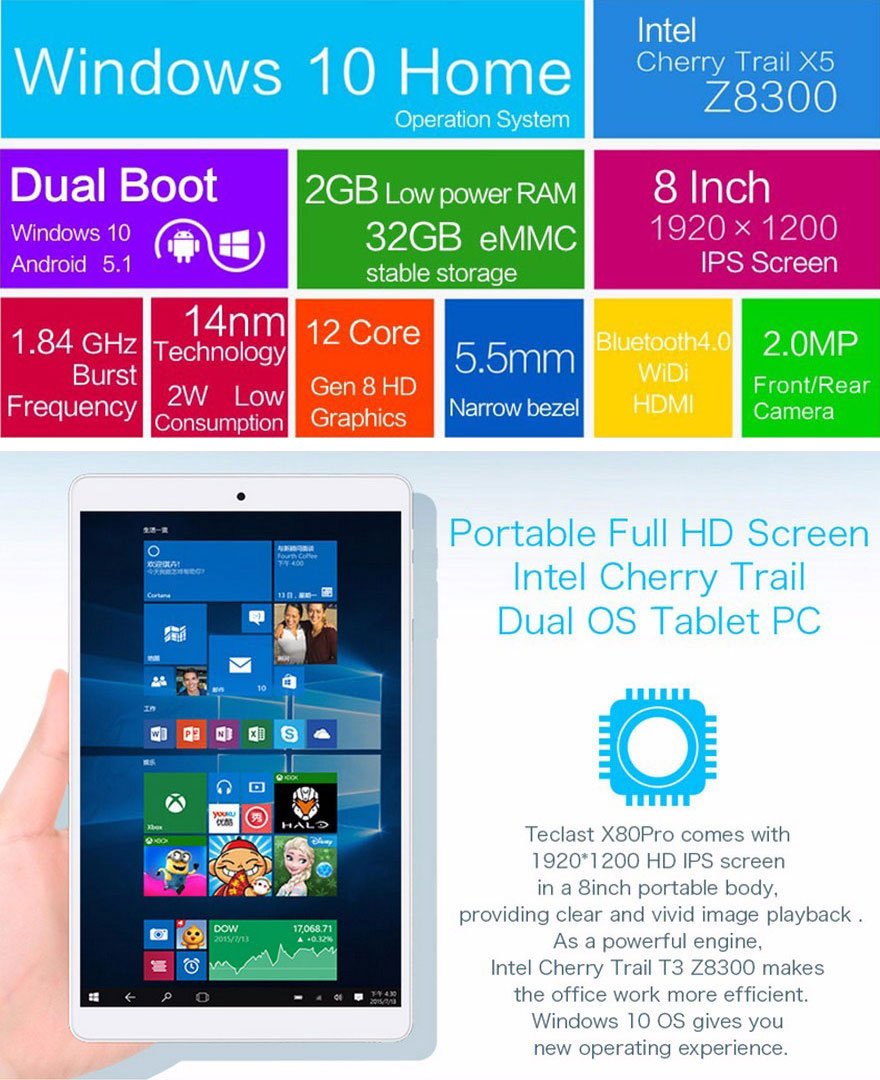 Teclast X80 Pro 8 Inch Android 5.1 + Windows 10 Dual OS Tablet PC
