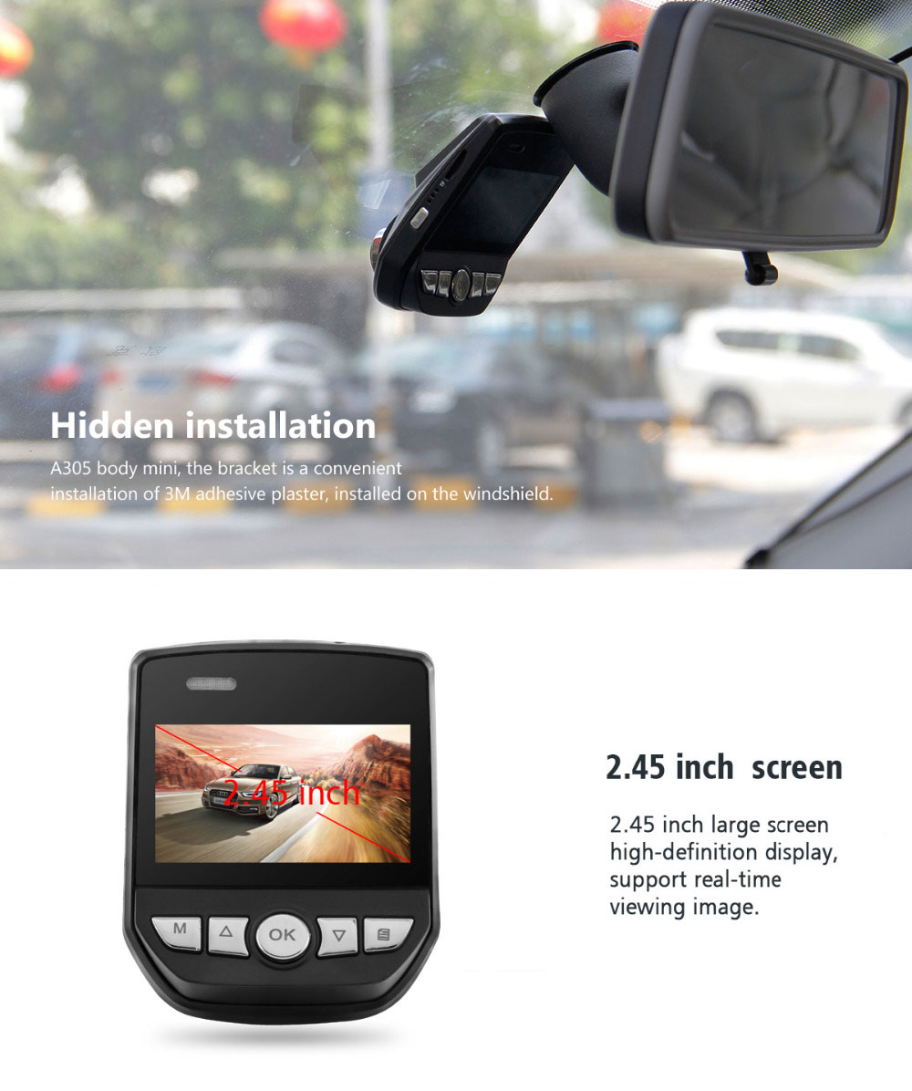Azdome A305 WiFi 170° Car DVR 1080P Full HD Night Vision Dash Cam