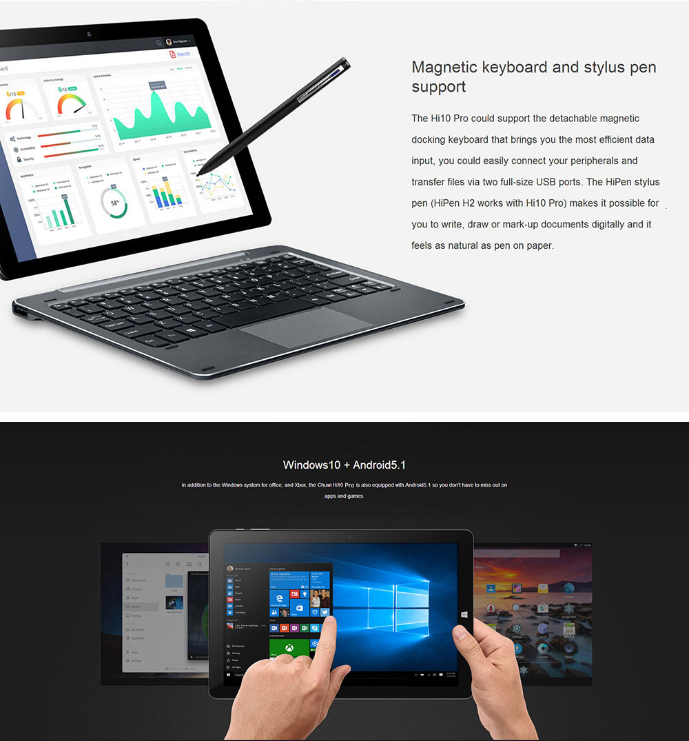 CHUWI Hi10 Pro 10.1 Inch Dual OS Ultrabook Tablet PC with Keyboard