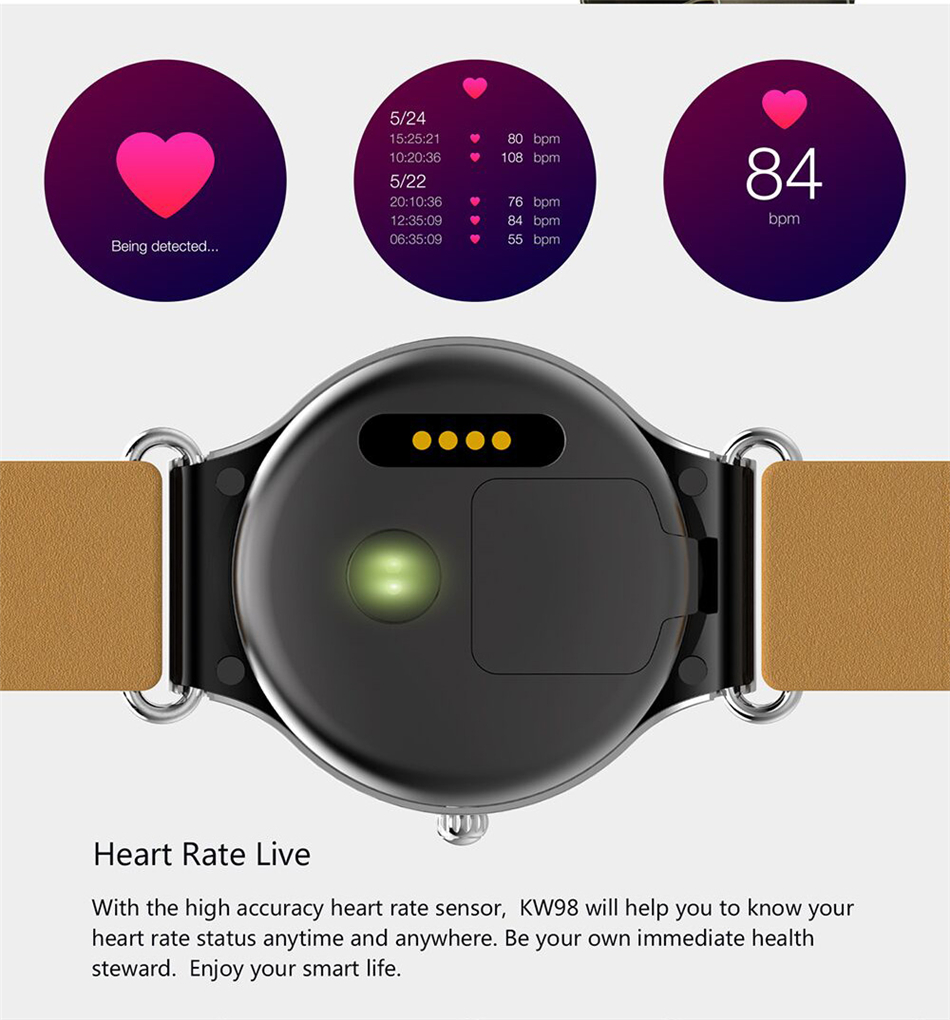 KW98 Smart Watch Phone WiFi GPS Heart Rate Monitoring Smartwatch