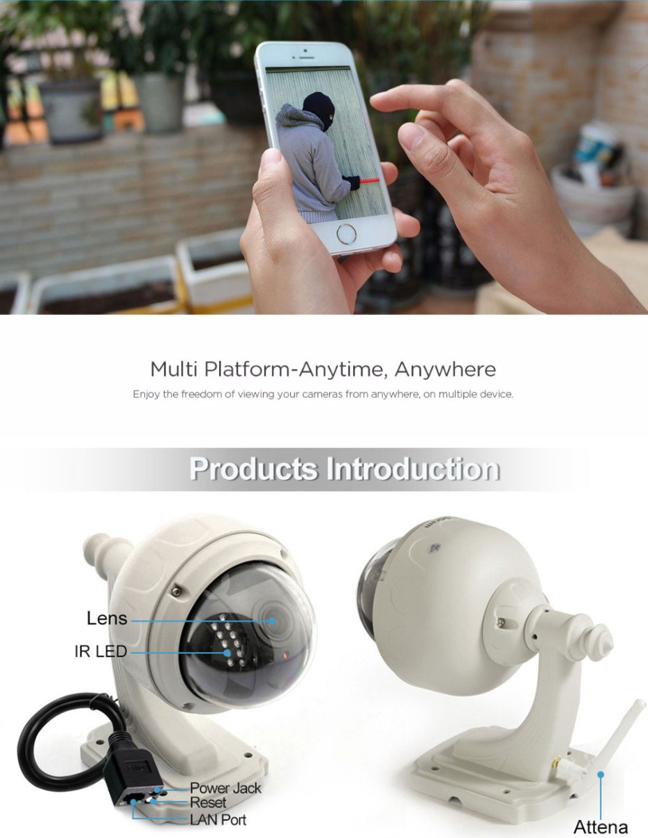 Sricam SP015 720P WiFi Waterproof IP Camera Wireless IR-cut Security Surveillance
