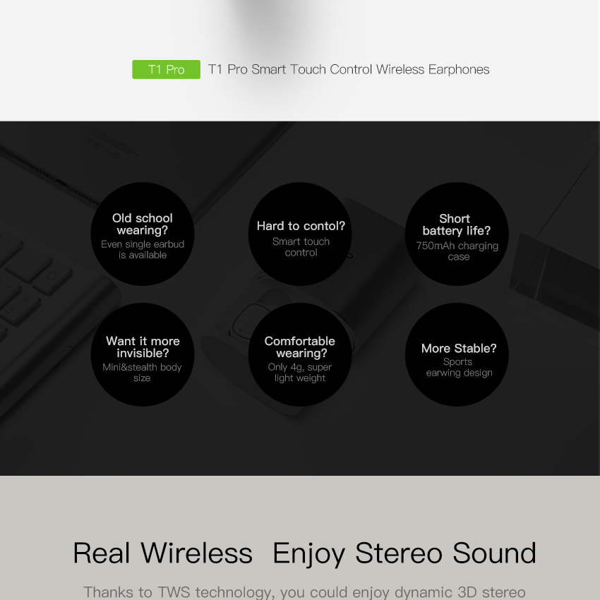 QCY T1 Pro Smart Touch Control TWS Wireless Earphones with Charging Box