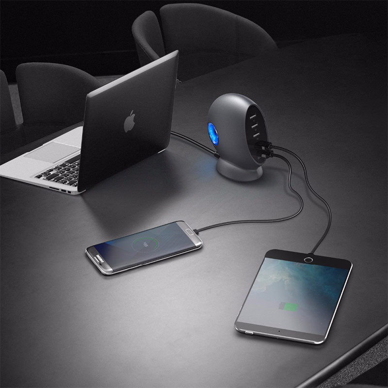 SeenDa Universal 5 Ports USB QC 3.0 Charger with 5ft Integrated Power Cord