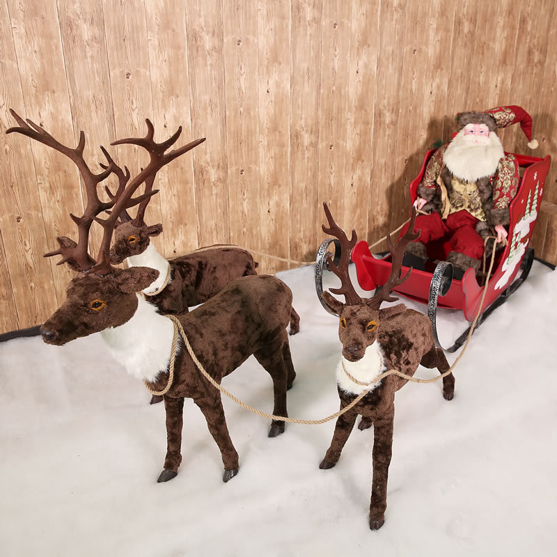 Simulation Stuffed Christmas Reindeer Christmas Tree Decoration for Snow House Christmas Scene