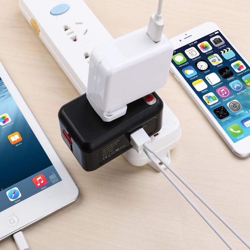 SeenDa Universal Travel Power Plug 2 USB Ports 5 V 2.1A