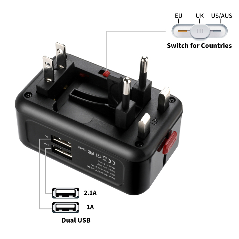 SeenDa Universal Travel Power Plug 2 USB Ports 5 V 2.1A