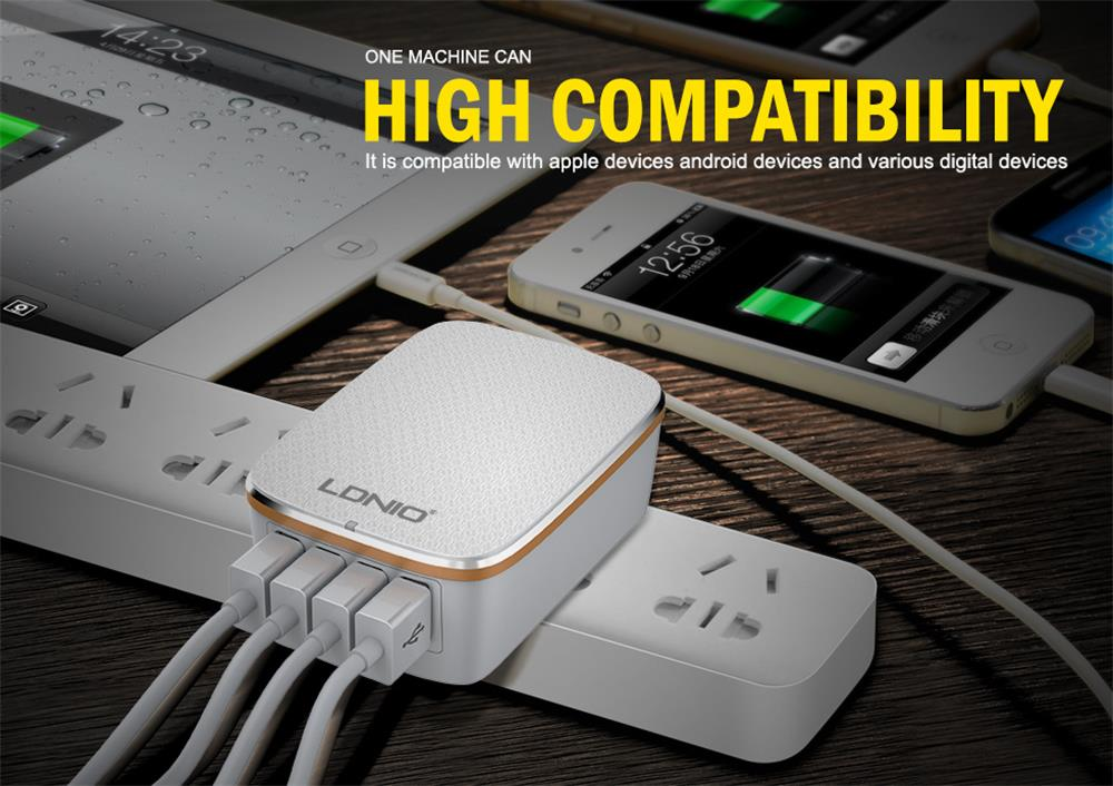 LDNIO A4404 4.4A Universal Charger 4 USB Ports Travel Adapter for Samsung S6 S7 S8 S7 iPhone7