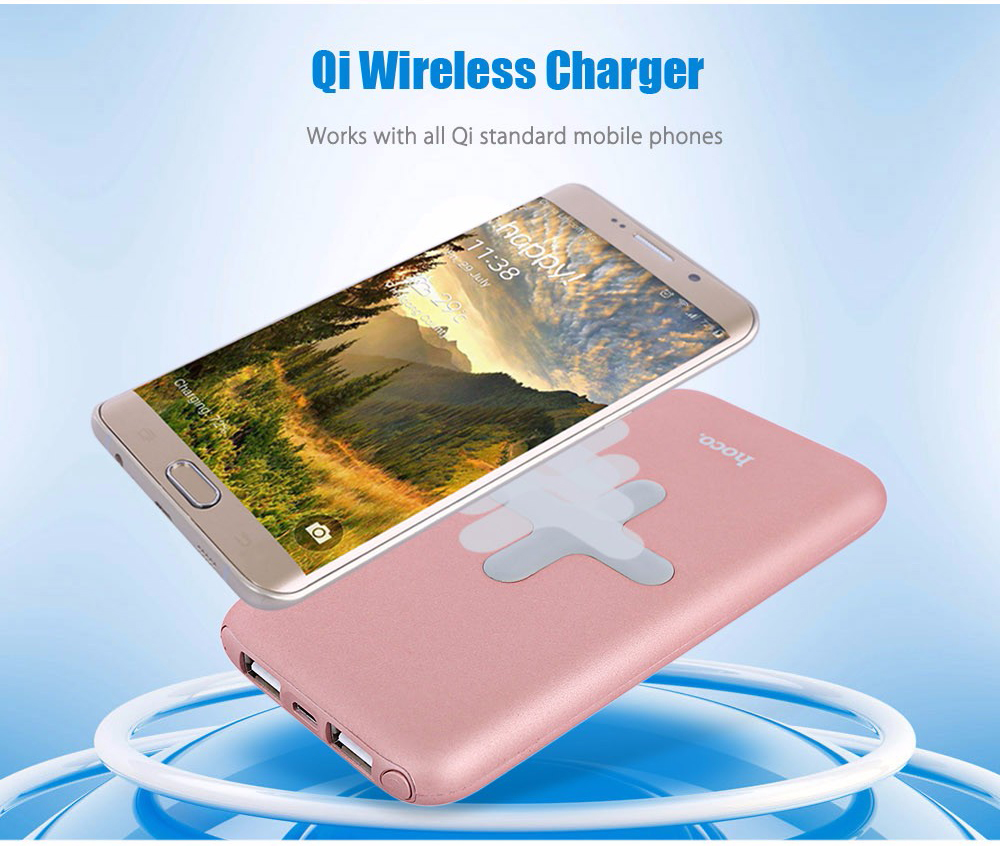 HOCO B11 2 in 1 Qi Wireless Charger+ 8000mAh Power Bank for iPhone 8 / Qi Phone
