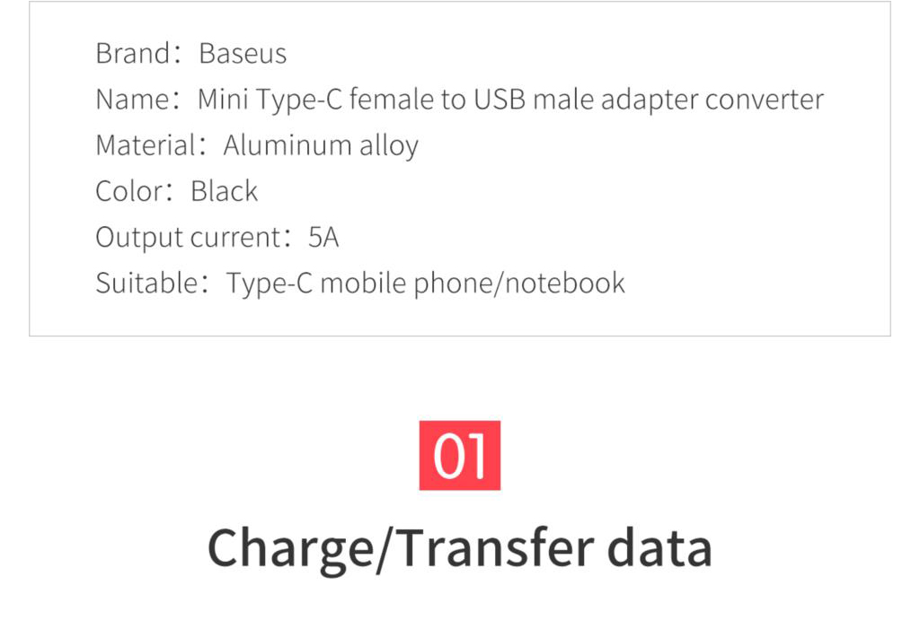 Baseus CAAOTG-01 Mini Type-C Female to USB Male Adapter Converter