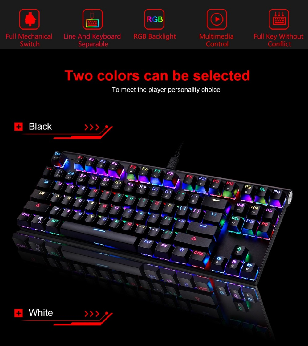 Original Motospeed CK101 Wired Mechanical Gaming Keyboard RGB Ergonomic Light 87 Anti-ghosting Keys