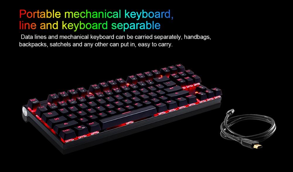 Original Motospeed CK101 Wired Mechanical Gaming Keyboard RGB Ergonomic Light 87 Anti-ghosting Keys