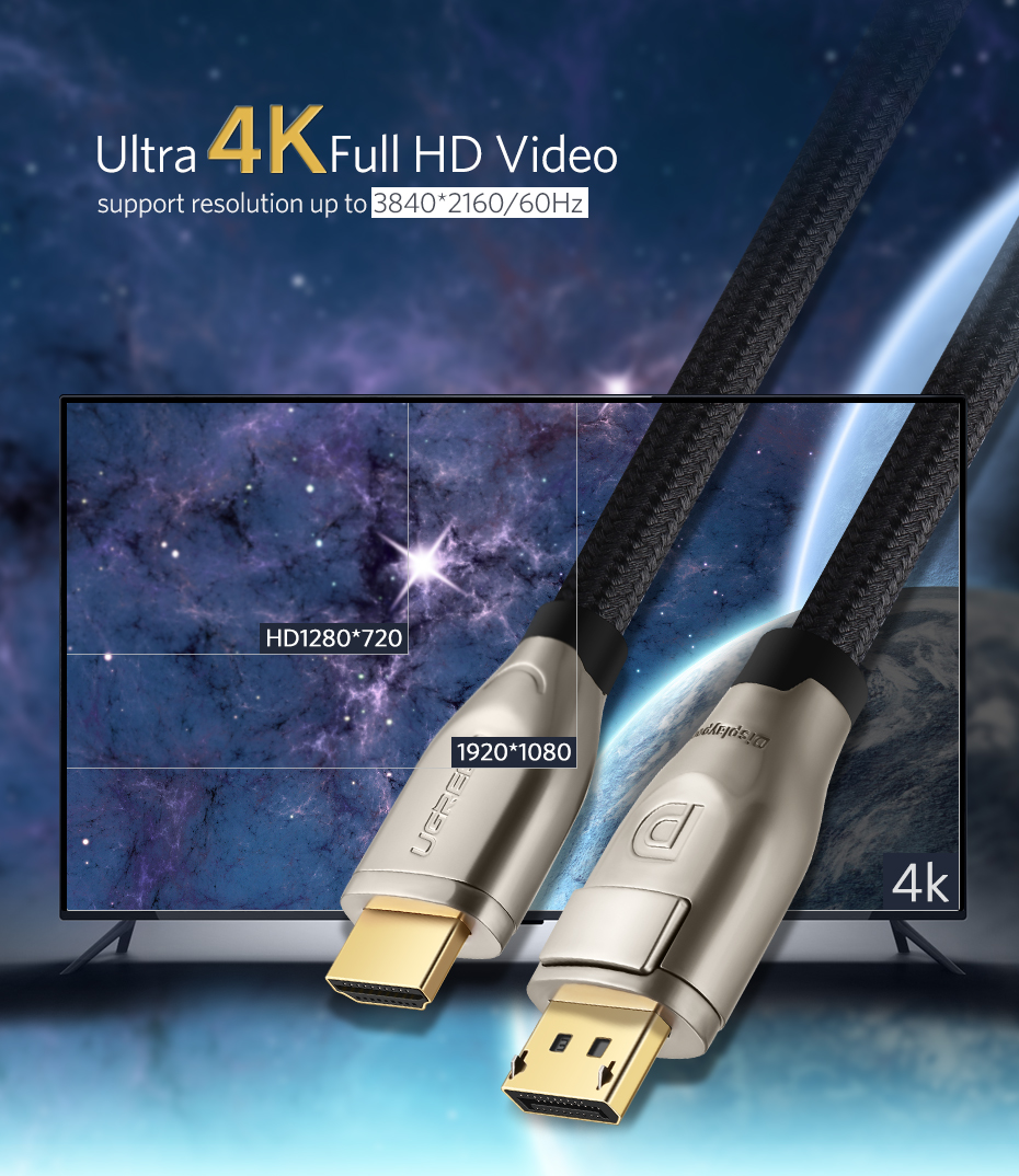 Ugreen DP111 Ultra 4K DP to HDMI 2.0 Cable