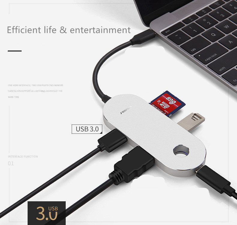 SeenDa IHUB-WG05 USB 3.0 Type-C Multifunction HUB for Macbook Charger