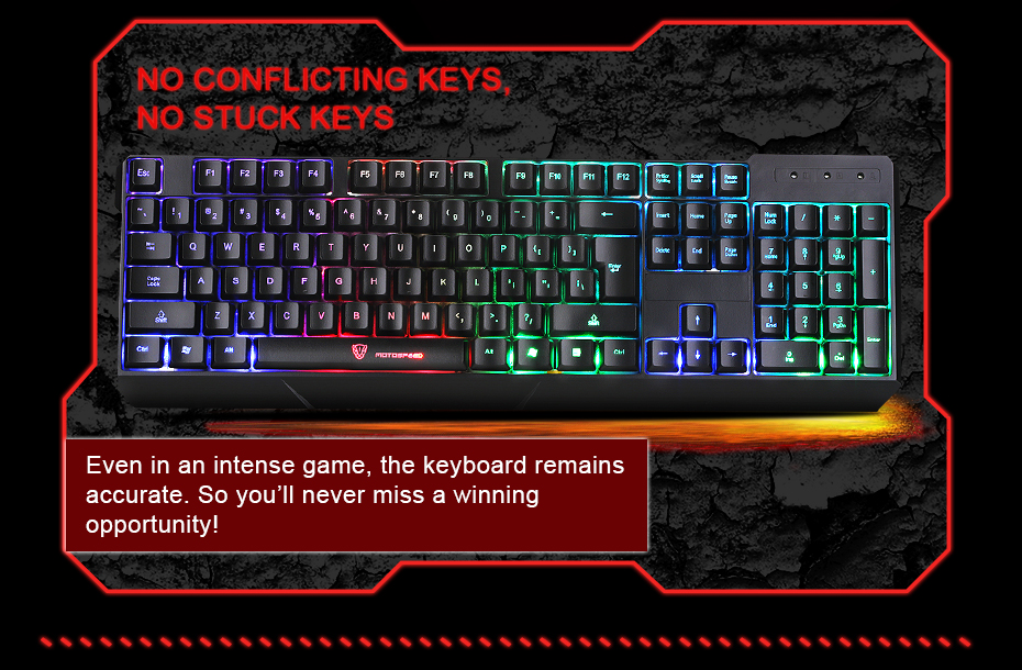 MotoSpeed K70L USB Gaming Keyboard wired 7 Color Backlight for Professional Players