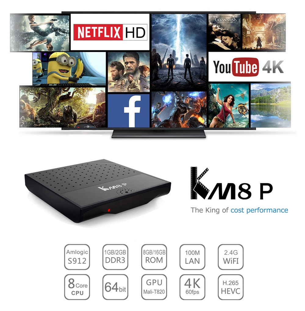 Mecool KM8 P Smart 4K TV Box Amlogic S912 Android 7 1