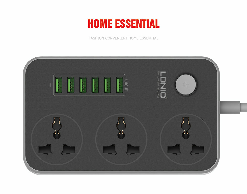 LDNIO SC3604 10A Socket with 6 USB 3 Extender Multi Adapter