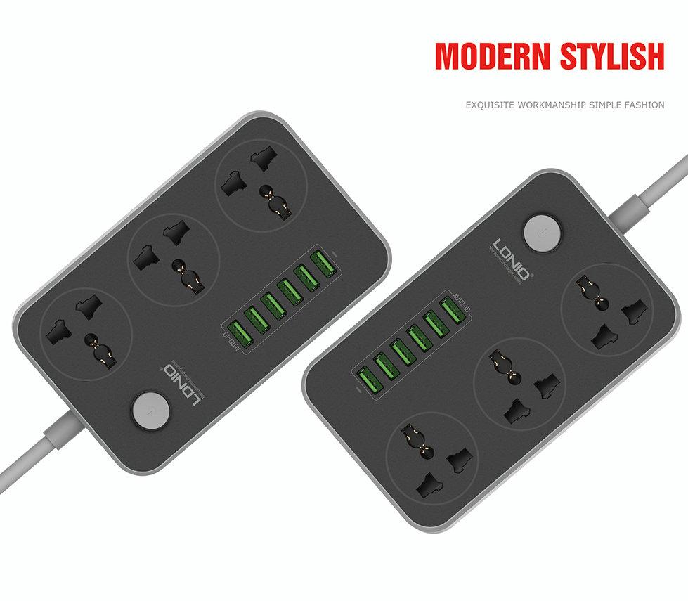 LDNIO SC3604 10A Socket with 6 USB 3 Extender Multi Adapter