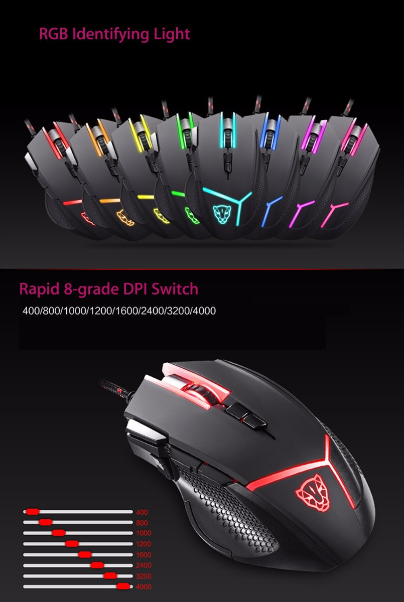 Motospeed V18 Gaming Wired Mouse 4000 DPI High Precision Optical 9 Keys LED Breathing Lamp