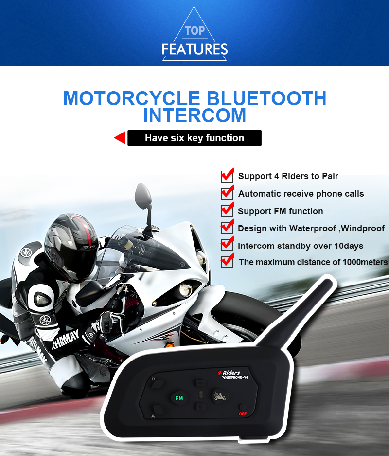Vnetphone V4 Bluetooth BT Multi Motorcycle Intercom